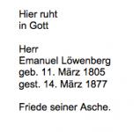 <b>Löwenberg Emanuel</b> <br> <i>Rückseite</i> <br>