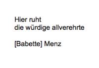 <b>Menz Babette</b> <br> <i>Vorderseite</i> <br>