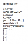 <b>Wohlgenannt Lisette geb. Kohen </b> <br> <i>Vorderseite</i> <br>