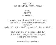 <b>Schwarz Bertha</b> <br> <i>Vorderseite</i> <br>