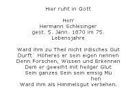 <b>Schlesinger Hermann</b> <br> <i>Rückseite</i> <br>