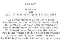 <b>Egg Abraham</b> <br> <i>Vorderseite</i> <br>