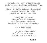 <b>Hirschfeld Marie geb. Rosenthal</b>