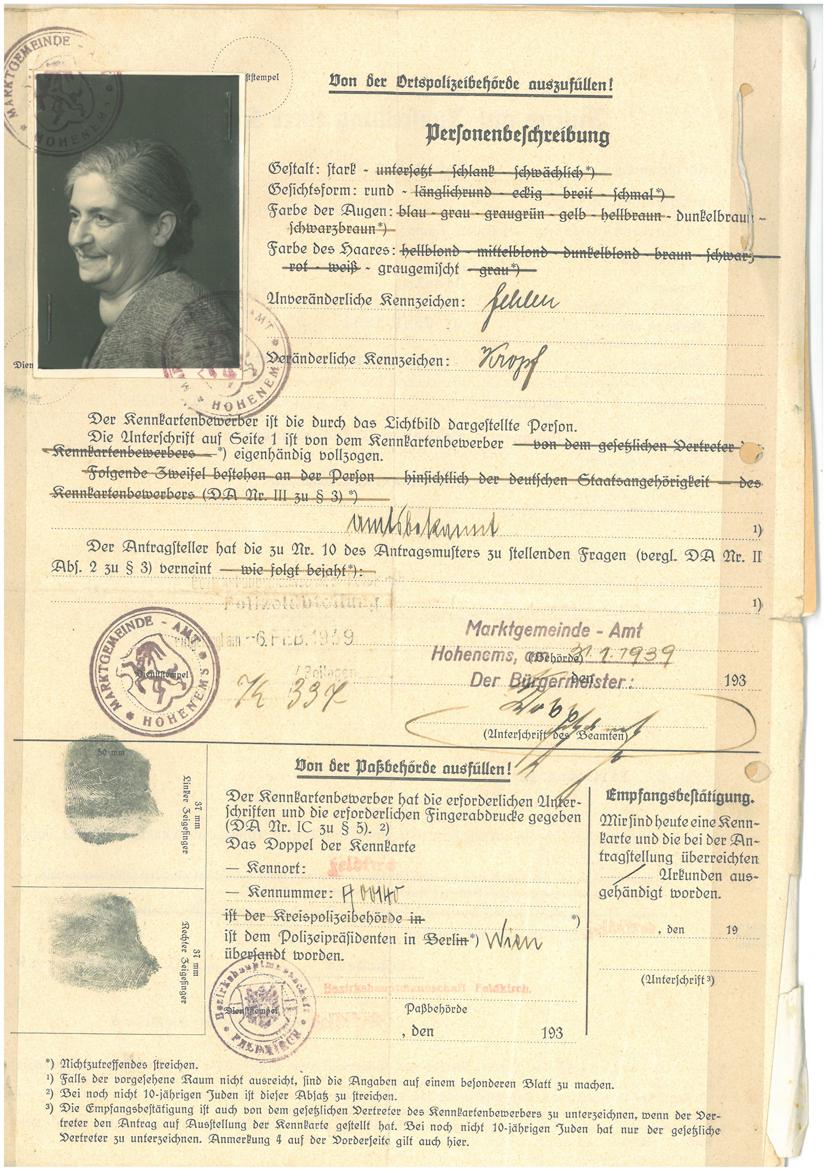 Dokumente: Antrag zur Ausstellung einer Kennkarte, 31.1.1939 YGRDm