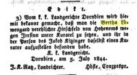 Meldung im Bregenzer Wochenblatt, 26.7.1844