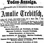 Todesanzeige für Amalie Winterstein