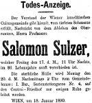 Todesanzeige für Salomon Sulzer, 1890