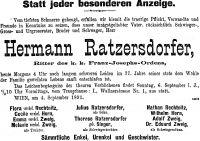 Todesanzeige für Hermann Ratzersdorfer