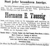Todesanzeige für Hermann E. Taussig