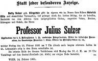 Todesanzeige für Julius Sulzer, 14.2.1891