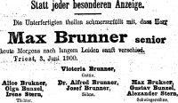 Todesanzeige für Max Brunner, 1900