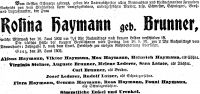 Todesanzeige für Rosina Brunner, 1902