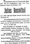 Todesanzeige für Julius Rosenthal
