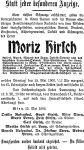 Todesanzeige Moritz Hirsch