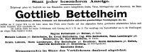 Todesanzeige für Gottlieb Bettelheim