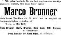 Todesanzeige für Marco Brunner, 1918