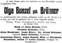 Todesanzeige für Olga Brunner, 1918