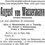 Todesanzeige für August von Wassermann
