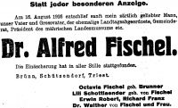 Todesanzeige für Alfred Fischel