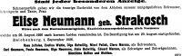 Todesanzeige für Elise Neumann, geb. Strakosch