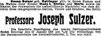 Todesanzeige für Joseph Sulzer, 1926