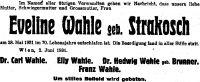Todesanzeige für Eveline Wahle, geb. Strakosch