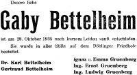 Todesanzeige für Gabriele Bettelheim (geborene Gruenberg)