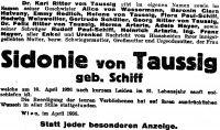 Todesanzeige für Sidonie Schiff von Taussig, April 1936