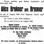 Todesanzeige für Alice Brunner, 1938