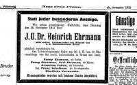 Todesanzeige für Heinrich Ehrmann