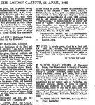 Meldung über Namensänderung in der London Gazette vom 21.4.1922