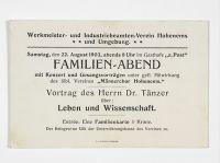 Einladung zum Vortrag von Aron Tänzer, 22. August 1903