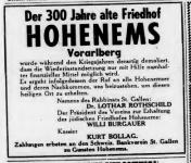 Anzeige des Hohenemser Friedhofsvereins