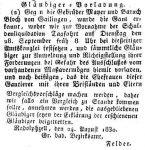 Anzeige im 'Großherzoglich Badischen Anzeige-Blatt für den Seekreis' vom 8. September 1830 S. 547