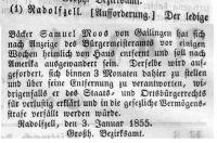 Anzeige im 'Großherzoglich Badischen Anzeige-Blatt für den See-Kreis' vom 10. Januar 1855