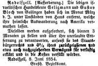 Anzeige im 'Großherzoglich Badischen Anzeige-Blatt  für den See-Kreis' vom 10. Juni 1854