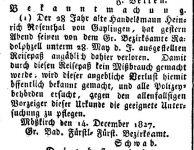 Bekanntmachung vom 14.12.1827 im 'Großherzoglich Badischen Anzeige-Blatt für den See-Kreis', 1827, S. 749