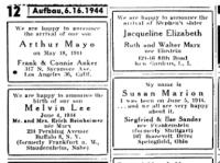 Geburtsanzeige für Jacqueline Marx