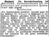 Orthodoxe Kritik an Rabbiner Tänzer Notiz im Frankfurter 'Israelitischen Familienblatt', 15. September 1911