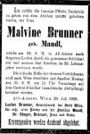 Todesanzeige für Malvine Brunner (geb. Mandl)