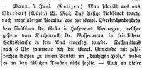Notiz in der Allgmeinen Zeitung des Judentums vom 9.6.1887