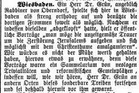 Artikel in der Zeitschrift 'Der Israelit' vom 22.8.1892