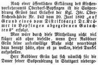 Bericht in der Zeitschrift 'Der Israelit', 24.4.1893 2. Teil