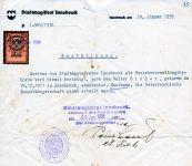 Ablehnung Bundesbürgerschaft 1938 Stadtmagistrat Innsbruck