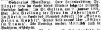 Vorträge von Aron Tänzer Notiz in der Zeitschrift 'Der Israelit', 1. Januar 1901