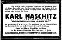 Todesanzeige für Karl Naschitz