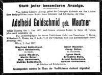 Todesanzeige für Adelheid Goldschmid (Mautner)