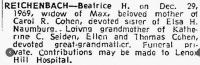 Todesanzeige Beatrice Reichenbach, geb. Herzfeld