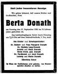 Todesanzeige für Berta Donath, NFP, 29.9.1936