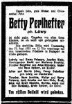 Todesanzeige für Betty Perlhefter, geborene Löwy